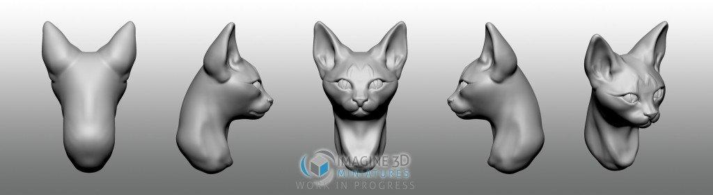 gato cabeza para miniatura 28mm