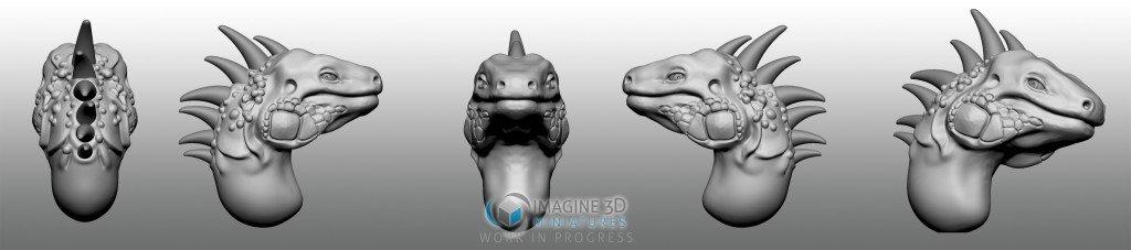 iguana cabeza para miniatura 28mm