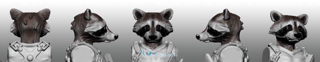 simulacion color mapache cabeza para miniatura 28mm