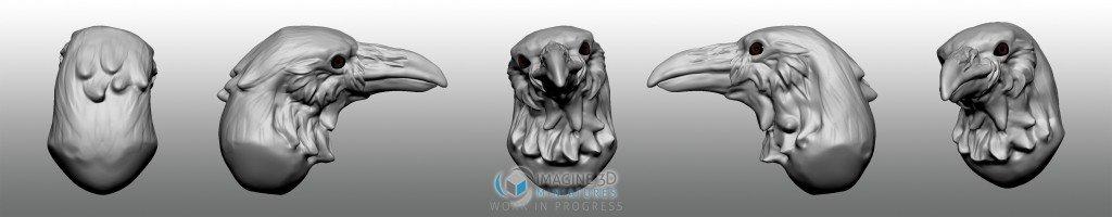 cuervo cabeza para miniatura 28mm