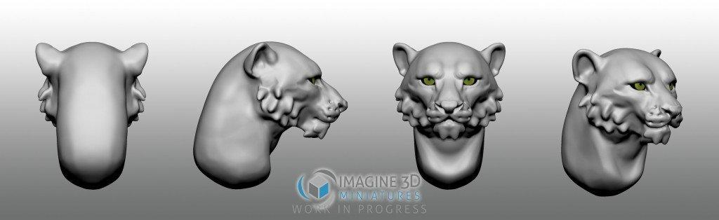leopardo de las nieves cabeza para miniatura 28mm